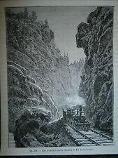 Gravure 19° chemin de fer train du Colorado USA