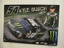 KYLE BUSCH  #54 MONSTER ENERGY DRINK POSTER WITH MONSTER ENERGY DECAL 2014 NEW