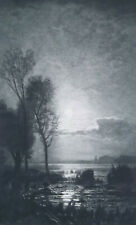 MOON LIT Landscape Scenery - 1893 Photogravure Print