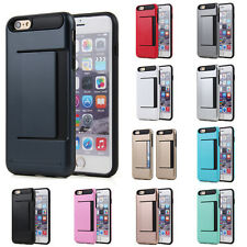 Card Pocket ShockProof Hybrid Wallet Case For iPhone 6 Plus 6S Plus Navy