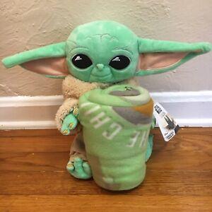 "Star Wars The Mandalorian Baby Yoda Plush Toy 11"" with/Throw Blanket - Brand New"