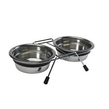 Stainless Steel Double Diner Dog Bowls Anti Rattle Raised Feeding Dishes 3 Sizes