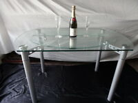 1 Quality Art Deco Style Round Glass Chrome Metal Extending Dining Table Seats 4
