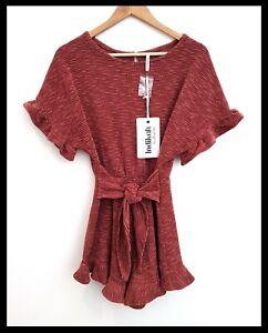 NWT INDIKAH by ANGEL BIBA Women's Rose Pink Textured Playsuit Romper Tie Waist 8