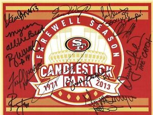 Dwight Clark Ronnie Lott Charles Haley Signed Farewell Candlestick Football Card