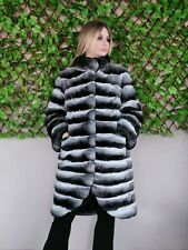 REAL NEW CHINCHILLA FUR COAT JACKET FULL SKINS MEXA NERZMANTEL CINCILA SABLE