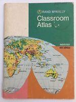 Rand McNally Classroom Atlas 1970 Vintage Maps World USA