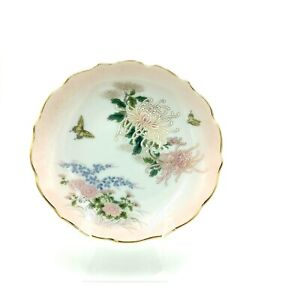 Vintage Shibata Porcelain Dish Pink Flowers Butterflies Scalloped Edge Gold Trim