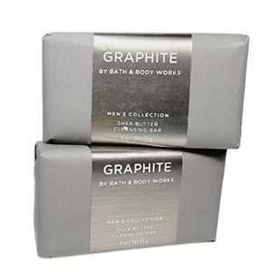 2 Bath & Body Works GRAPHITE Men's Collection Shea Butter Cleansing Soap Bar NEW