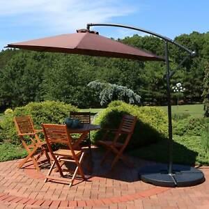 Sunnydaze Steel Brown 10-Foot Outdoor Offset Umbrella - Cantilever and Crank