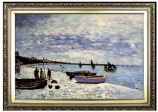 Framed Hand Painted Oil Painting Repro Monet Beach at Sainte-Adresse 24x36in