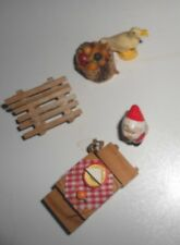 6 dollhouse miniatures (one inch) Santa dog picnic basket fruit bench  # 5433