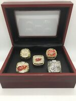 5 Pcs Detroit Red Wings Ring Set Hockey Championship Ring Set with Display Box