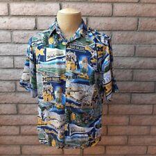Reyn Spooner Sports Michigan Wolverines Shirt Mens Medium Aloha Hawaiian Rayon