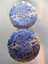 Japanese Imari Bowls Set of 2 Figural Scene Blue White Antique