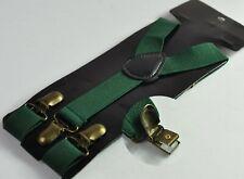 Dark Emerald Green Elastic Suspenders Braces Bronze Metal Clips For all ages