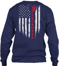 Lacrosse Flag 2 Gildan Long Sleeve Tee T-Shirt