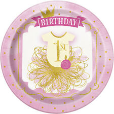 1st BIRTHDAY Pink and Gold LARGE PAPER PLATES (8) ~ First Party Supplies Dinner