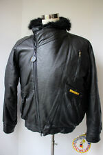 Mens VTG Super Triple Goose Down Leather Jacket Bomber XL Deadstock 80s Hip Hop
