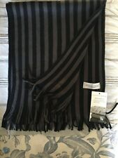 "GEOFFREY BEENE BLACK AND GRAY FRINGE SCARF NEW WITH TAGS SUPER SOFT 66"" LONG"