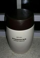 "2010 Starbucks Coffee Company Ceramic Storage Jar 12oz. Faux Wood Lid 7""x4"""