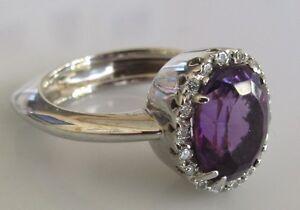Gold Diamond Ring - 18ct White Gold Amethyst Diamond Cluster Ring Size I