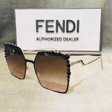Authentic Fendi FF 0259/S 205 53 Square Sunglasses Black/gold Frame Brown Lens