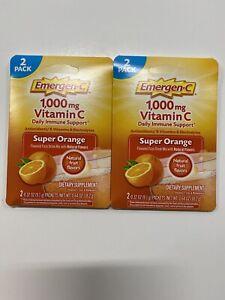 2 Packet Emergen-C Vitamin C 1,000 Mg Super Orange Drink (2) 0.32oz Packets 2pak
