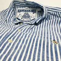 Pussers Shirt Mens Nautical Striped Blue White Short Sleeve Button Cotton Sail