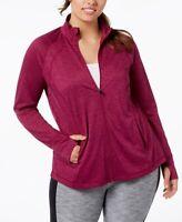 Ideology Womens Plus Size Rapidry Performance Zip Jacket Vintage Wine Size 1X