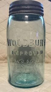 1880's  Aqua Glass #23 WOODBURY IMPROVED Quart N.J. fruit jar bottle W/ LID