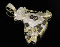 Mens 10K Yellow Gold Money Bag and Bundles Real Diamond Pendant 1.0Ct 1.8""