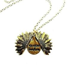 "You Are My Sunshine Open Locket Fashion 18"" Pendant Necklace Gold Sunflower"