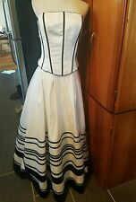 Tiffany designs wedding  dress white/black size 14 2 piece strapless full length