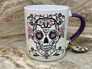 Halloween Mug Ceramic Matte Black Skull Pendant attached Orange