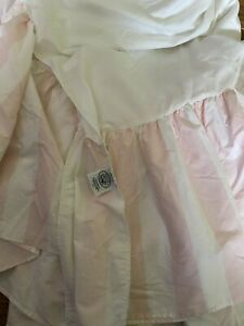 """LAURA ASHLEY COUNTRY ROSES PINK & WHITE STRIPE TWIN  BEDSKIRT 13"""" NOT SPLIT"""