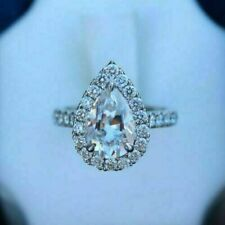 Engagement Ring Solitaire Halo 2.00 Ct Pear Cut Vvs1 Diamond 14k White Gold Over
