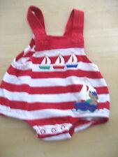 Baby Boy 3 Mo Red White Striped SAILBOAT SUN SUIT Romper Shortall 1 Piece Le Top