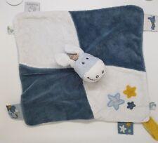 02 - Doudou Noukie's plat ane étoile bleu blanc jaune attache tétine NOUKIES