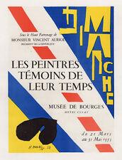 Vivid Henri MATISSE Antique Musée de Bourges Exhibition Poster SIGNED Framed COA