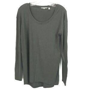Athleta Womens Medium Top Threadlight Long Sleeve Relaxed Fit Shirt Army Olive