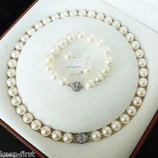 "10mm White Shell Pearl Necklace 18"" Bracelet  8"" Earring Set Fashion Jewelry"
