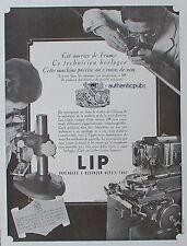 PUBLICITE LIP MONTRE TECHNICIEN HORLOGER ROUAGE BESANCON DE 1945 FRENCH AD RARE