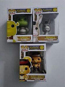 Funko Pop! Vinyl Shrek Set - Puss In Boots, Donkey, Shrek Vaulted