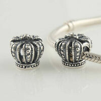 1 Genuine Solid Sterling Silver 925 European Crown Queen Bead For Charm Bracelet