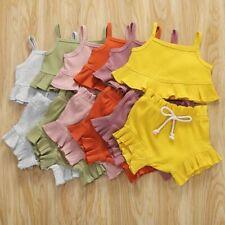 Newborn Baby Girl Summer Solid Color Sling Ruffle Crop Tops Short Pants 2Pcs Set