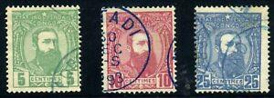 Belgian Congo 1887. 5c~25c. SC# 6, 7, 8. NG