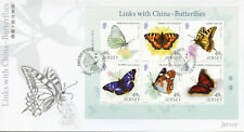 Jersey 2017 FDC Butterflies Links w/ China 6v M/S Cover Butterfly Insects Stamps