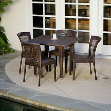 Outdoor Patio Furniture 5pc All-weather Brown Wicker Dining Set