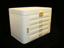 IVORY CREAM LEATHER EX LARGE JEWELLERY STORAGE ARMOIRE BOX CASE CHEST DRAWERS